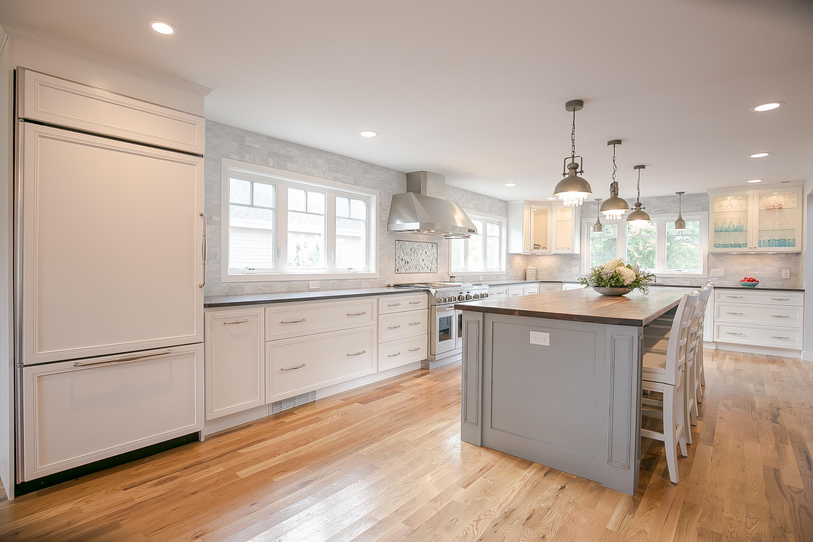 white transitional kitchen, quartz countertop, walnut countertop