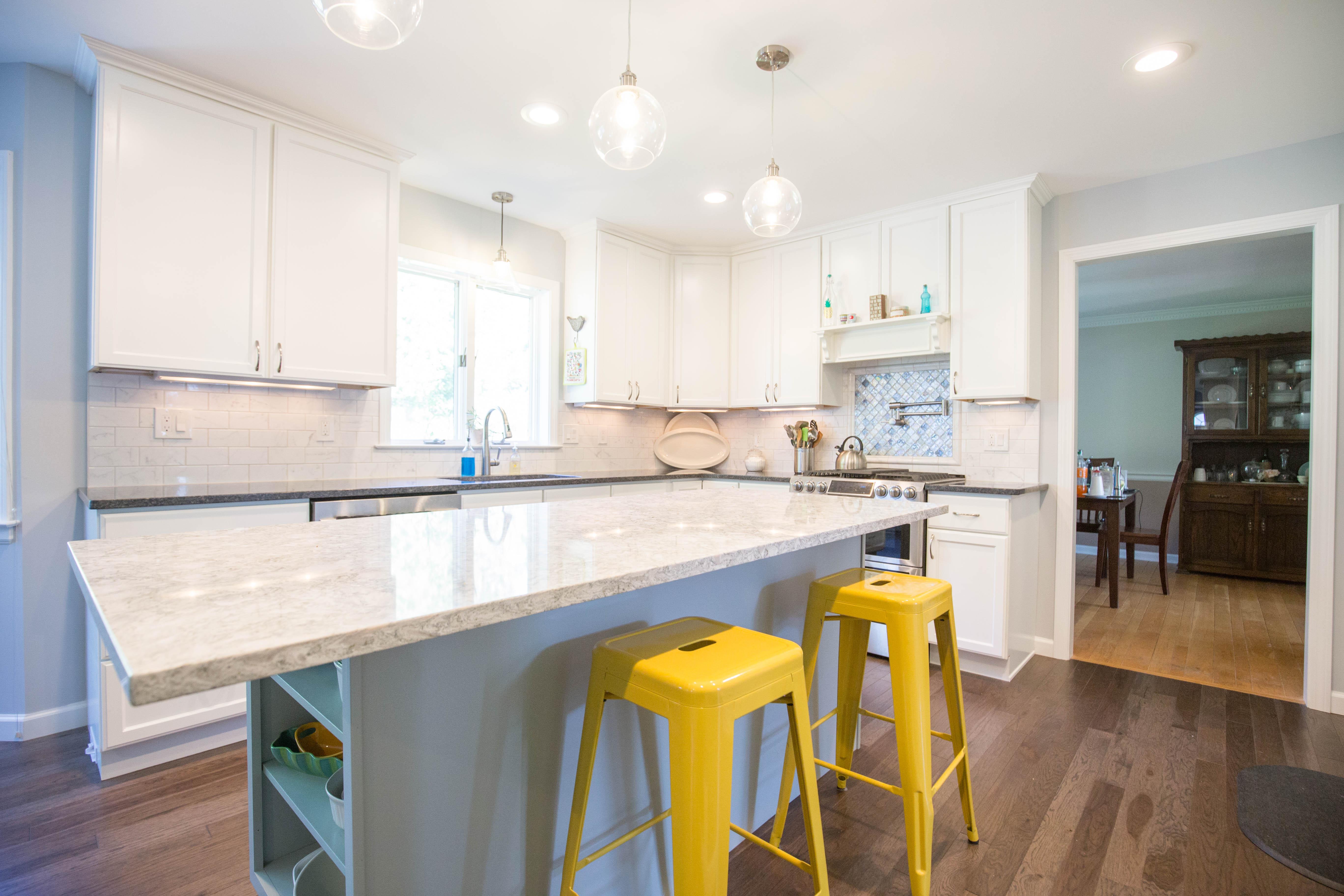 white transitional kitchen, white granite countertop